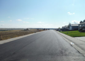 A photo of the road improvements in Deer Creek Estates in Glenrock, Wyoming. WLC Engineering and Surveying provided subdivision engineering design for this project.