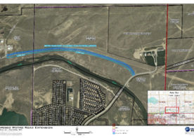 A map of the secondary access road in Evansville, Wyoming. WLC Engineering and Surveying provided grants writing to secure funding for the project.