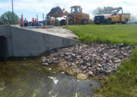 rip rap on stream for erosion control at wyoming womens center