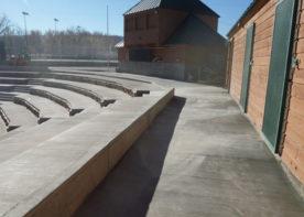 top view of washington park baseball field bleacher system in Casper, Wyoming