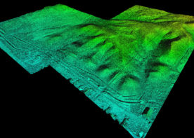 colored unmanned aerial topographic survey image of USA Trucking lot