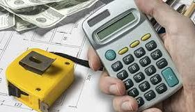 The picture of the blueprint, tape measurer, caluculator, and cash, demonstrates the complexity of funding infrastructure projects