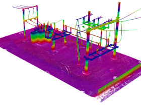 colored scan image from black and white scan of substation from laser scan for power inventory
