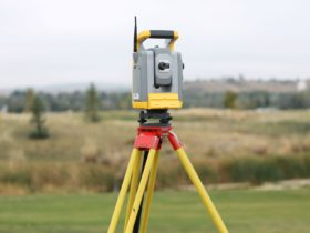 A photo of a Total Station used for Land Surveying, inlcluding boundary surveys