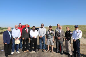 stakeholders at evansville secondary access road ribbon cutting